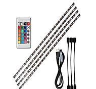 abordables -0,5 m bandes lumineuses LED Ruban LED Flexibles Barrette d'Eclairage RGB 15 LED SMD5050 1 24Keys Télécommande 1 set RGB Fond de TV Lumières de bande LED Tiktok Alimenté par Port USB