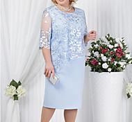 abordables -robe grande taille pour femmes robe fourreau longueur genou rouge bleu royal bleu clair demi-manche couleur unie dentelle de style formel été printemps été col rond chaud pour maman maman 2021xl xxl 3xl 4xl 5xl