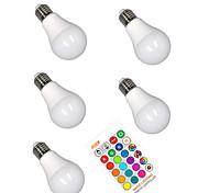 economico -5 pezzi 5 W Lampadine LED smart 350 lm E26 / E27 A60(A19) 3 Perline LED SMD 5050 Smart Oscurabile Feste RGBW 85-265 V / RoHs