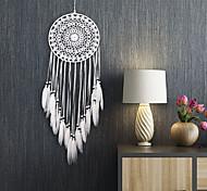 abordables -Boho dream catcher cadeau fait à la main tenture murale décor art ornement artisanat plume 70 * 20 cm pour enfants chambre festival de mariage