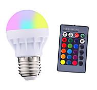 abordables -1pcs 3 w 200-250 lm e26 / e27 led ampoules intelligentes 1 led perles smd 5050 parti télécommandé décoratif rgbw 85-265 v