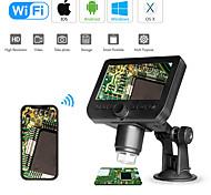 abordables -Microscope numérique wifi 4.3led affichage à l'écran 720p 50x-1000x grossissement 1080p fhd 2.0 mp 8 led pour tablette Android et iOS
