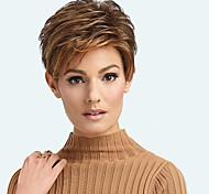 abordables -Perruque Synthétique Bouclé Partie latérale Perruque Court Marron / bordeaux Cheveux Synthétiques 12 pouce Femme Design à la mode Homme Synthétique Marron
