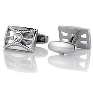 abordables -Boutons de manchettes Classique Mode Cristal Broche Bijoux Argent Pour Cadeau Quotidien