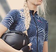 abordables -SPAKCT Femme Manches Courtes Maillot Velo Cyclisme Eté Maille Elasthanne Polyester Noir Botanique Floral Cyclisme Maillot Sommet VTT Vélo tout terrain Vélo Route Réfléchissant Résistant aux UV