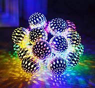 abordables -Guirlandes Solaires Boule Marocaine Étanche 5m 20LED Boules Globe Fée Guirlandes Lumières Orbe Lanterne De Noël Éclairage Pour La Fête En Plein Air Décoration De La Maison