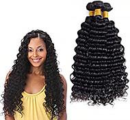 abordables -Lot de 3 Tissage de cheveux Cheveux Brésiliens Ondulation profonde Extensions de cheveux Naturel humains Cheveux Vierges Naturel Tissages de cheveux humains Bundle cheveux Extensions Naturelles 8-28