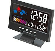 abordables -électronique lcd numérique horloge de bureau température humidité moniteur horloge thermomètre hygromètre prévisions météorologiques table horloge