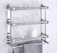 abordables -étagères de salle de bain support de salle de bain en acier inoxydable support mural d'angle de salle de bain à trois niveaux avec 4 crochets