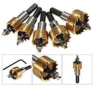 economico -5 pz parti in metallo duro trapano set metallo legno trapano foro strumento di taglio per installare serrature 16mm / 18.5mm 20mm / 25mm / 30mm