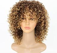 abordables -Perruque Synthétique Afro Afro bouclé Avec Frange Perruque Court Blond de fraise Cheveux Synthétiques 15 pouce Femme Homme Dégradé de Couleur Perruque afro-américaine Marron clair