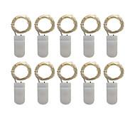 economico -LOENDE 1m Fili luminosi 10 LED 10 pezzi Bianco caldo Colori primari Bianco Feste Decorativo Matrimonio Batterie alimentate