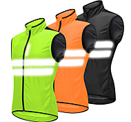 abordables -Homme WOSAWE Gilet Velo Cyclisme Sans Manches Noir Orange Vert Couleur unie Cyclisme VTT Vélo tout terrain Vélo Route Gilet / Gilet Veste Coupe Vent Maillot Coupe Vent Respirable Des sports Vêtement