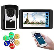 economico -7 pollici touch screen capacitivo videocamera cablata video campanello wifi / 3g / 4g chiamata remota memoria di sblocco visivo citofono macchina esterna carta d'identità funzione uno a uno