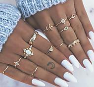 economico -Unghia per unghie Opale Stile vintage Oro Lega Cuori Fiore decorativo Corona Stile Boho Di tendenza Boho 13 pz / Per donna / Set di anelli