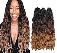 abordables -Dreadlocks Faux Locs Nu Locs Box Braids Couleur naturelle Cheveux Synthétiques 18 pouce Rajouts de Tresses 3 Pièces