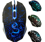 abordables -DTIME USB filaire Gaming Mouse Conduit la lumière de respiration 3200 dpi 3 niveaux de DPI réglables 6 pcs Clés