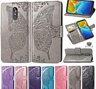 economico -telefono Custodia Per LG Integrale Custodia in pelle Custodia flip LG Stylo 4 LG Q7 LG K40 LG K10 2018 LG G7 LG G7 ThinQ LG G8 A portafoglio Porta-carte di credito Con supporto Farfalla Floreale