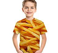 abordables -Enfants Bébé Garçon T-shirt Tee-shirts Manches Courtes Imprimé Géométrique 3D Imprimé Enfants Hauts Actif basique Bleu Violet Rouge