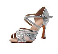 abordables -Femme Chaussures Latines Salon Chaussures de Salsa Danse en ligne Talon Détail Cristal Talon Bobine Noir Rouge Bleu Lanière de cheville