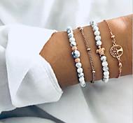 abordables -4 pièces Bracelet de perles Bracelet Ensemble de bracelet Femme Multirang Résine Arbre de la vie Tortue arbre de la vie Elégant simple Bohème Européen Bracelet Bijoux Dorée pour Soirée Cadeau