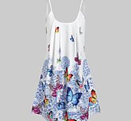 economico -Per donna Abito con bretelline Mini abito corto Blu Rosso Senza maniche Fantasia geometrica Con stampe caldo Moda città Boho L XL XXL 3XL 4XL 5XL