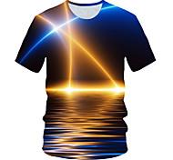 abordables -Homme T-shirt Graphique Paysage Imprimé Manches Courtes Usage quotidien Hauts Chic de Rue Exagéré Bleu Roi