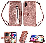 abordables -étui pour apple iphone xs max / iphone 8 plus brillant paillettes / antichoc / portefeuille couverture arrière solide couleur tpu doux / cuir pour iphone 7/7 plus / 8/6/6 plus / xr / x / xs