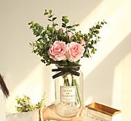 abordables -bouquet de fleurs artificielles décor à la maison fête de mariage roses décoratives fleurs bouquet de mariée