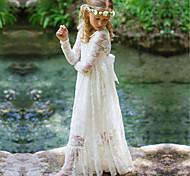 abordables -robe longue à manches longues en dentelle jacquard blanche à fleurs pour fille enfant blanc