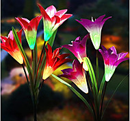 economico -luci solari per esterni luci per palo da giardino 4 confezioni 4 fiori di giglio testa luce solare 3 confezioni 2 confezioni giardino fiorito colorato patio cortile casa ip65 luce notturna