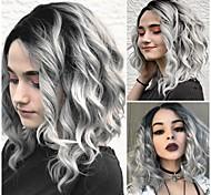 abordables -Perruque Synthétique Bouclé Partie latérale Perruque Longue Grise Cheveux Synthétiques 18 pouce Femme Design à la mode Homme Synthétique Gris foncé