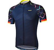 abordables -Arsuxeo Homme Manches Courtes Maillot Velo Cyclisme Bleu marine Violet Jaune Pente Cyclisme Maillot VTT Vélo tout terrain Vélo Route Des sports Vêtement Tenue / Athleisure