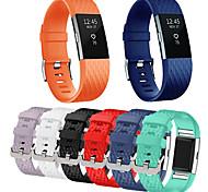 abordables -1 pc Bracelet de Montre  pour Fitbit Bande de sport Acier Inoxydable Silikon Remplacement Sangle de Poignet pour Fitbit Charge 2
