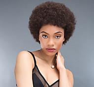 abordables -Mélange de cheveux humains Perruque Court Afro bouclé Frisé Jerry Séparation profonde Noir Marron foncé Perruque Faux Locs Tressage africain Fabriqué à la machine Cheveux Brésiliens Tous Unisexe Noir