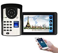 economico -618fd11 7 pollici touch screen capacitivo videocamera cablata video campanello wifi / 3g / 4g chiamata remota / impronta digitale / password / telecomando sblocco video citofono one to one