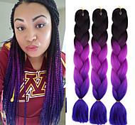 abordables -Crochet Hair Braids Jumbo Box Braids Couleur naturelle Cheveux Synthétiques 24 pouce Rajouts de Tresses 3 Pièces Résistant à la chaleur