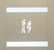 abordables -Caractère stickers muraux toilettes, pré-collé pvc décoration de la maison sticker mural 11 * 17cm
