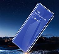 abordables -teléfono Funda Para Samsung galaxia Funda de Cuerpo Entero Funda de cuero S10 S10 + Galaxy S10 E con Soporte Cromado Espejo Color sólido Dura Cuero de PU