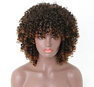 abordables -Perruque Synthétique Afro Afro bouclé Avec Frange Perruque Court Longueur moyenne Brun claire Cheveux Synthétiques 16 pouce Femme Homme Dégradé de Couleur Perruque afro-américaine Marron clair