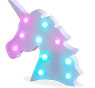 abordables -licorne style portable led bureau décoratif lampe lampe de nuit 2 * aa pâtes au pouvoir coloré rbg lumière fête atmosphère