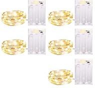 economico -LOENDE 5m Fili luminosi 50 LED 5 pezzi Bianco caldo Colori primari Bianco Creativo Feste Decorativo Batterie alimentate