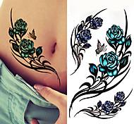 economico -3 pezzi nero grande fiore body art impermeabile temporaneo sexy coscia tatuaggi rosa per donna adesivi tatuaggio flash