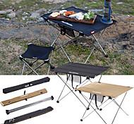 abordables -Table de Camping avec poche latérale Portable Ultra léger (UL) Pliable Stabilité Tissu Oxford Alliage d'aluminium pour 3-4 personne Randonnée Camping Barbecue Automne Printemps Noir Kaki