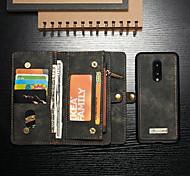 economico -telefono Custodia Per OnePlus Integrale Custodia in pelle Porta carte di credito One Plus 7 One Plus 7 Pro A portafoglio Porta-carte di credito Resistente agli urti Tinta unica Resistente pelle