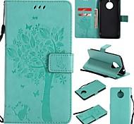 abordables -téléphone Coque Pour Motorola Coque Intégrale Étui en cuir Wallet Moto E4 Plus Portefeuille Porte Carte Clapet Fleur Arbre Dur faux cuir