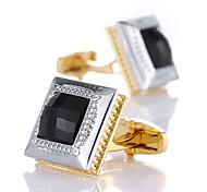 abordables -Boutons de manchettes Classique Mode Cristal Broche Bijoux Doré Pour Mariage Cadeau