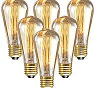 economico -6 pz 60 W E26 / E27 ST64 Bianco caldo 2200-2300 k Retrò / Oscurabile / Decorativo Lampadina a incandescenza vintage Edison 220-240 V