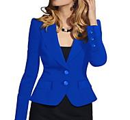 abordables -blazer femme slim polyester manteau tops blanc / noir / bleu