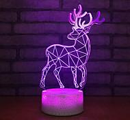 abordables -renne élan noël illusion 3d veilleuse 7 couleurs mode tactile lampe de table de chevet chambre décor lumières cadeau de noël 7 pouces pour bébé enfants pat lumières base de crack de glace